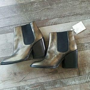 Zara golden black leather bootie heels size 6 1/2